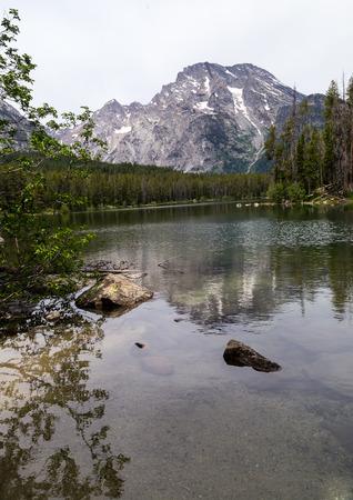 teton: Mount Moran from Leigh Lake in Grand Teton National Park.