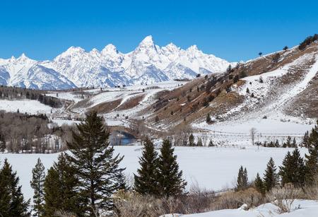teton: The Grand Teton in western Wyoming. Stock Photo