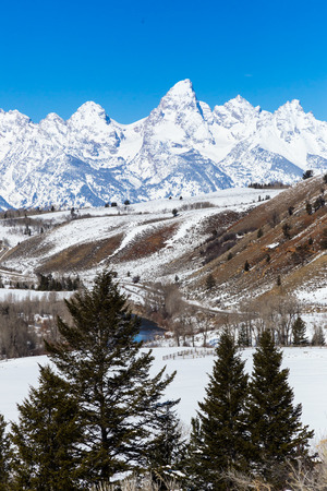 wyoming: The Grand Teton in western Wyoming. Stock Photo