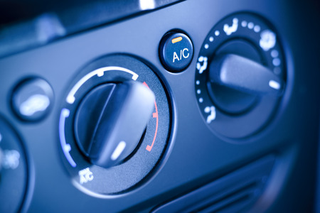 cold air: Car, vehicle interior with visible climate controls, fragment of instrument panel  Stock Photo
