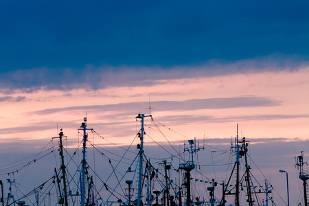 Viel Masten der Fischerboote und Segelboote im Sonnenuntergang Hintergrund, sichtbare Seile, Takelage, Radare und Navigationsantennen, Raum fot Text Standard-Bild