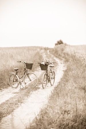 b w: Photo presents two classic bicycles parked on dirt road, in one of bikes visible bunch of wild flowers, sepia photo