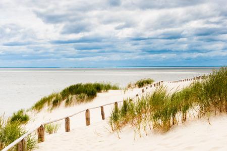 Dune auf dem Seeweg mit sichtbaren Holzzaun, Grünpflanzen und stürmischen Wolken im Hintergrund, horizontal Standard-Bild