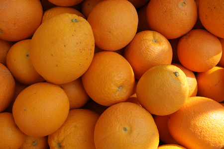 rutaceae: Navel orange, Citrus sinensis, Rutaceae, a cultivar resulting from mutation having an opening like human navel at tip and through which a second small fruit often emerges, thick skinned, preferred as table fruit