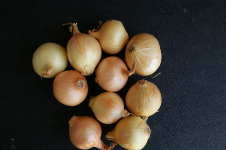 papery: Bulbs usually 2-4 cm in diameter with golden papery skin and white fleshy layers within, in true pearl onion  Allium porrum var  sectivum  which has single bulb like garlic, used for pickling, salads, stirfries Stock Photo
