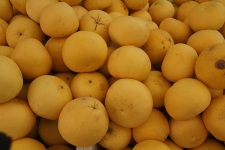 membranes:  Oroblanco, Sweetie, a hybrid between grapefruit and pomelo, slightly larger than grapefruit but with thicker rind, and sweeter pulp without bitterness, though membranes are bitter and discarded Stock Photo