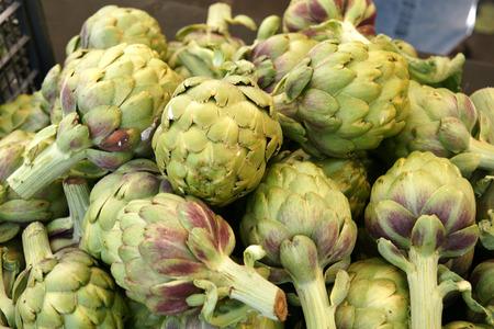 Globe artichoke vegetable consisting of unopened globose flower heads surrounded  Stock Photo