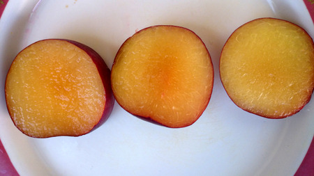 velvety: Aprium, Velvet Series I S Apricot, Hybrid between apricot and plum with purple black velvety skin and apricot like yellow flesh, flavor and taste of apricots