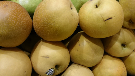 asian pear: Pyrus pyrifera, Yellow Asian pear, cultivar with large nearly rounded yellow fruit with small dots and white crisp, juicy sweet flesh Stock Photo