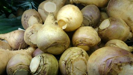 rutabaga: Rutabaga, Swedish turnip, Brassica napus rapifera (Brassica napus napobrassica), root vegetable similar to turnip but with yellowish flesh, cooked as vegetable. Stock Photo