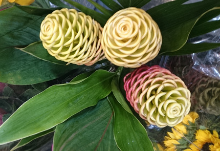 bracts: Zingiber spectabile, Beehive ginger, Malaysian ginger, perennial herb with green tapering leaves and yellow spike, often tinged red, with bracts open above giving appearance of beehive