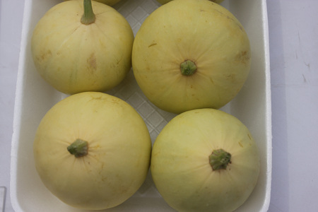 cucurbitaceae: Cucurbita pepo, Pusa Pasand summer squash, DS-8 Chapan kadu, Cultivar with globose fruits light green in colour turning yellow when ripe, family Cucurbitaceae, cooked vegetable Stock Photo