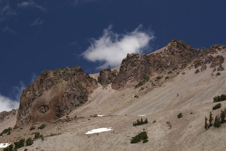 known: Lassen Mountain, Lassen Volcanic National Park, Shasta Cascade area, California, USA, known for its craters, sulfur springs and two beautiful lakes, a favourite destination of hikers Stock Photo