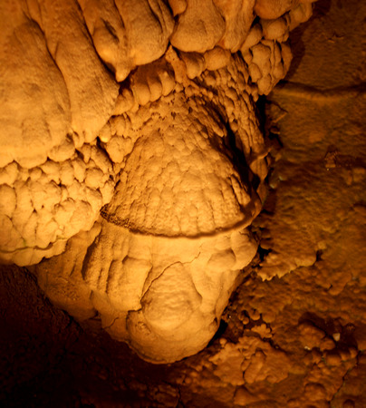 the deposits: Shasta Lake Caverns, Shasta County, California, USA, a network of caves located along the lakes, accessible through a chain of stairs, the cavern deposits of limestone form a variety of shapes including stalactites, stalagmites, soda straws, columns, and