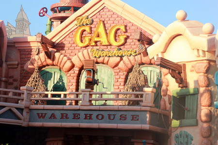 souvenirs: The GAG Factory, Disneyland, Anaheim California, USA, a warehouse themed shop with clothing, toys and souvenirs.