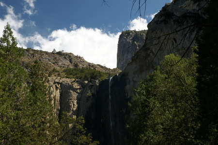 distances: Yosemite National Park waterfall, California, USA, steep mountain cliff, with water falling great distances