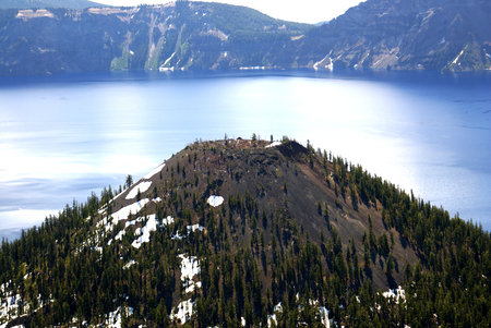 western usa: Crater lake, Crater Lake National Park, Caldera lake in Western United states in Oregon state. Deepest lake in USA with depth of 592 m, filled by rain and snow water