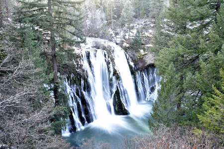 providing: McArthur-Burney Falls Memorial State Park, California, a 129 foot waterfall, providing exciting view and experience. Stock Photo