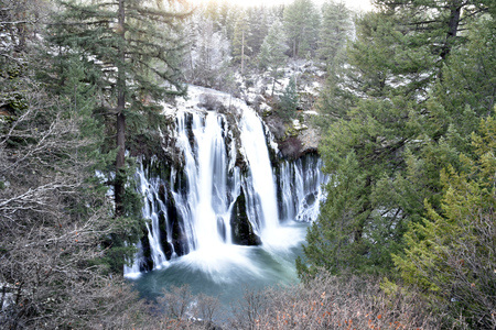 exciting: McArthur-Burney Falls Memorial State Park, California, a 129 foot waterfall, providing exciting view and experience. Stock Photo