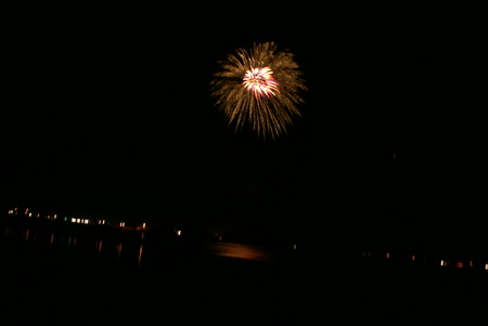 Spectacular Fourth of July Fireworks in 2008 from southeastern shore of Lake Euwana, Klamath County on Independence day of USA, famous annual attraction.