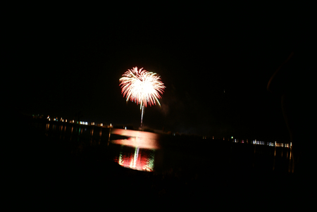 klamath: Spectacular Fourth of July Fireworks in 2008 from southeastern shore of Lake Euwana, Klamath County on Independence day of USA, famous annual attraction.