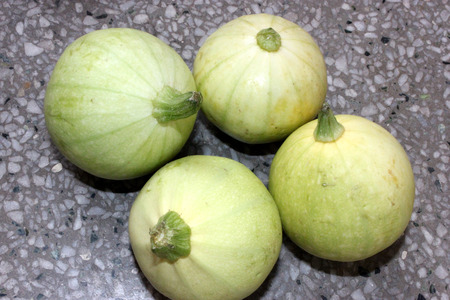 Chapan kadu PUSA DS 8, Cucurbita pepo, summer squash variety developed by IARI with yellowish green young fruits with faint green lines, maturing to golden yellow up to 12 cm across, vegetable.