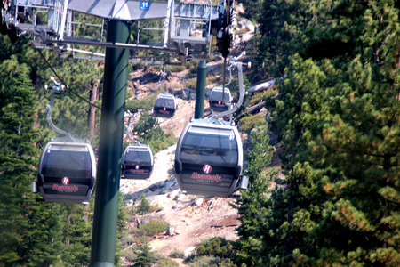 Heavenly Mountain Gondola, South Lake Tahoe, USA, providing 2.4 miles scenic ride with panoramic view of Tahoe lake and Carson Valley from the Observation Deck on top. Editorial