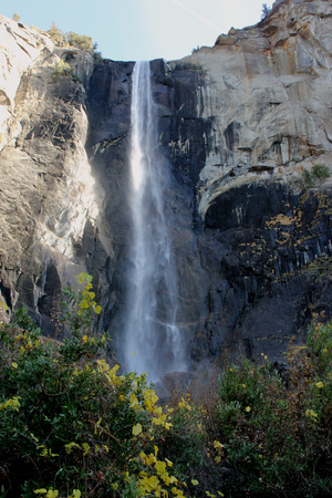 Bridalveil Fall, Yosemite National Park, California, zoomed in view from Parking Lot,  189 m high waterfall with light swaying flow on November 23, thickest and thundering in spring