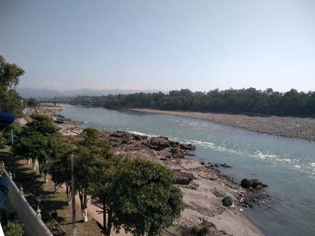 View of Chenab river from Tapo Asthan Gurdwara near Gobind Ghat, Akhnoor, about 25 km from Jammu, Jammu and Kashmir, India