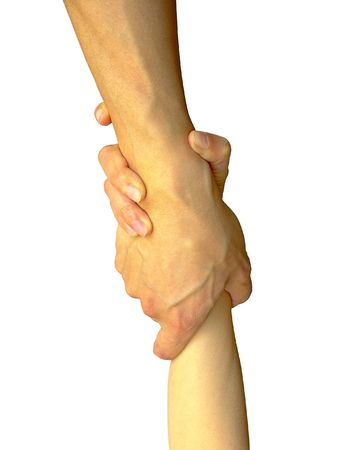 at each other: A Helping Hand Stock Photo