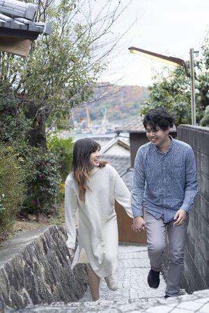 Young couple enjoying autumn tourism