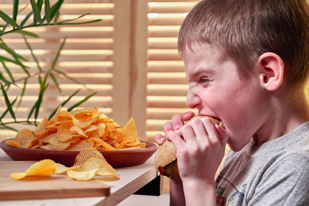 Boy eating hotdog. Dish of potato chips in the background. View from the side.