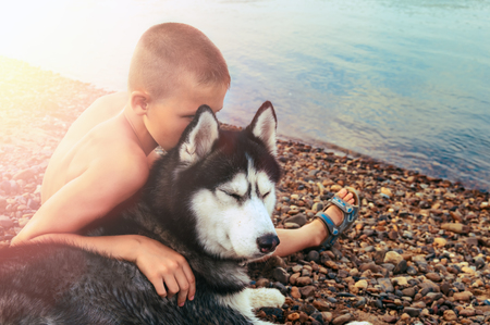 Cute boy hugged husky dog. Friends side by side sit on shore. Summer evening. Copy space.