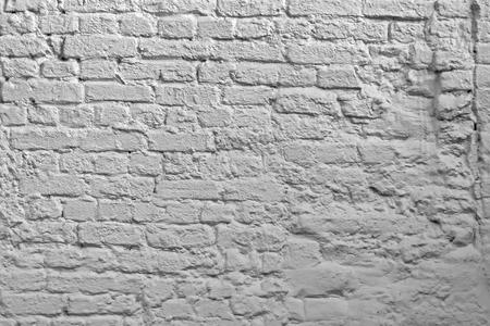 White Brick Wall Background. Whitewash Brick Texture. White Brickwork Art Wallpaper. Old Lime Washed Wall Structure.