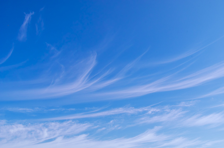 Blue sky with white cirrus clouds sunny panorama Stock Photo