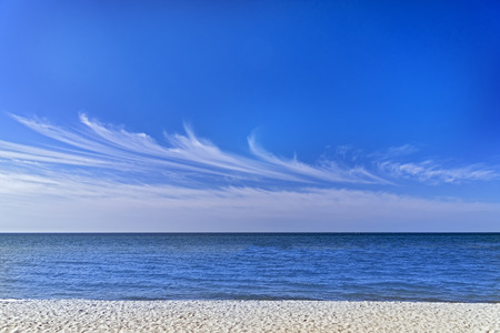 Blue sky cirrus clouds sea panorama Stok Fotoğraf