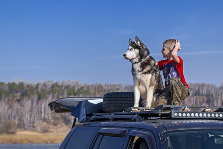 Boy (9 years old, caucasian) with siberian husky dog on the roof off-road car. Friends on walk inSunny day in clear weather.
