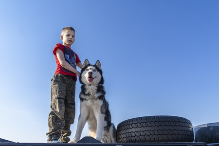 Boy (9 years old, caucasian) with a siberian husky dog on the roof off-road car. Friends on walk inSunny day in clear weather.