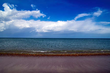 Seascape with surf line and blue sky