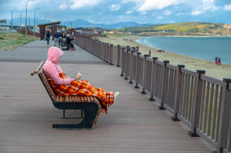 Freezing young woman, snuggled in sun lounger with glass of coffee and cell phone, covered by plaid blanket. Cold autumn day on the beach. Standard-Bild
