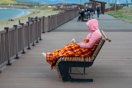 Freezing young woman, snuggled on deckchair with coffee and cell phone, covered by plaid blanket. Cold autumn day on the beach. Standard-Bild