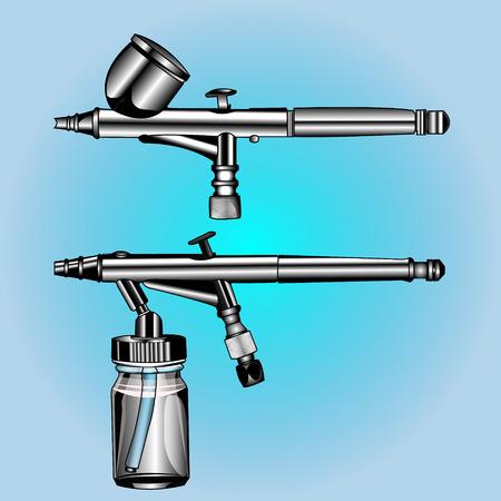 aerografo: dos aer�grafo diferente a la actividad art�stica, arreglo de cubierta para una tapa de pintura e inferior