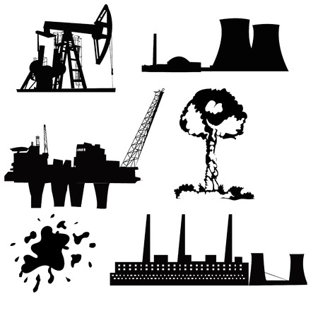 energetics: Factory, oil drilling, nuclear power and energy icon set in black Illustration