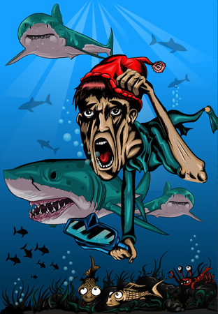 diver in danger under water saved from sharks, in a humorous style Vector