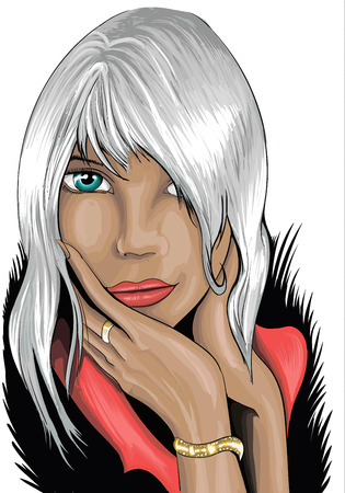one eyed: Portrait of a beautiful young woman with white hair and an attractive look