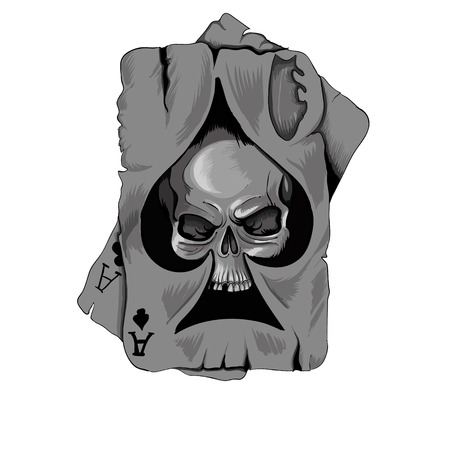 playing card symbols: Poker card old ace of spades with skull isolated on white background
