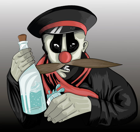 drunk entertain: illustrations drunken clown with a bottle of alcohol and with stokanom in hand Illustration