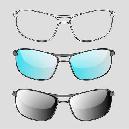 isolation: a set of sunglasses and eyeglasses on a white background isolation Illustration