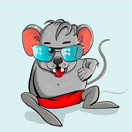 cartoon ear: Cute cartoon mouse with glasses in the cartoon style