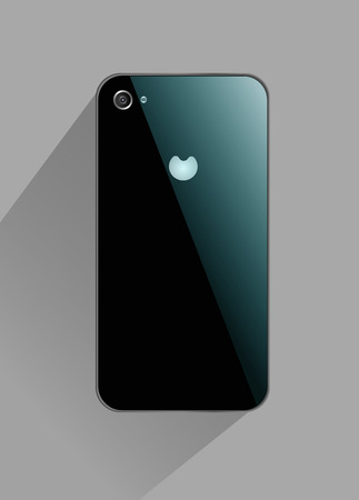 iphon: realistic mobile phone on a gray background